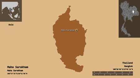Shape of Maha Sarakham, province of Thailand, and its capital. Distance scale, previews and labels. Composition of patterned textures. 3D rendering