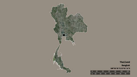 Desaturated shape of Thailand with its capital, main regional division and the separated Phangnga area. Labels. Satellite imagery. 3D rendering