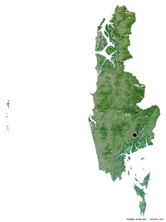 Shape of Phangnga, province of Thailand, with its capital isolated on white background. Satellite imagery. 3D rendering