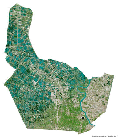 Shape of Nonthaburi, province of Thailand, with its capital isolated on white background. Satellite imagery. 3D rendering