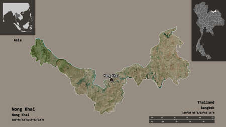 Shape of Nong Khai, province of Thailand, and its capital. Distance scale, previews and labels. Satellite imagery. 3D rendering