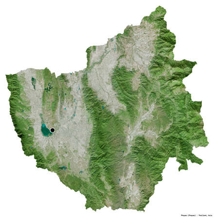 Shape of Phayao, province of Thailand, with its capital isolated on white background. Satellite imagery. 3D rendering