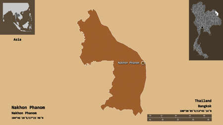 Shape of Nakhon Phanom, province of Thailand, and its capital. Distance scale, previews and labels. Composition of patterned textures. 3D rendering