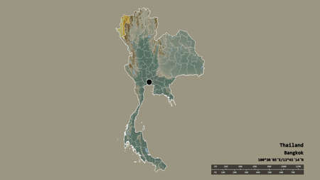 Desaturated shape of Thailand with its capital, main regional division and the separated Mae Hong Son area. Labels. Topographic relief map. 3D rendering