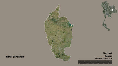 Shape of Maha Sarakham, province of Thailand, with its capital isolated on solid background. Distance scale, region preview and labels. Satellite imagery. 3D rendering