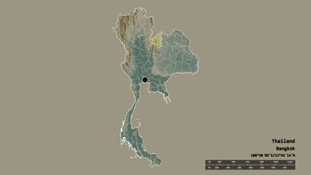 Desaturated shape of Thailand with its capital, main regional division and the separated Loei area. Labels. Topographic relief map. 3D rendering