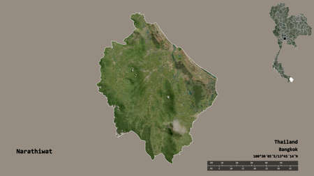 Shape of Narathiwat, province of Thailand, with its capital isolated on solid background. Distance scale, region preview and labels. Satellite imagery. 3D rendering