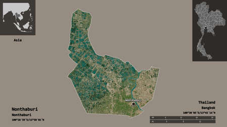 Shape of Nonthaburi, province of Thailand, and its capital. Distance scale, previews and labels. Satellite imagery. 3D rendering