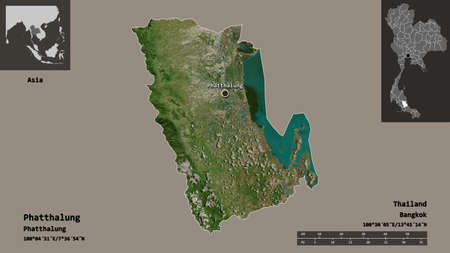 Shape of Phatthalung, province of Thailand, and its capital. Distance scale, previews and labels. Satellite imagery. 3D rendering