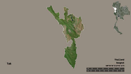 Shape of Tak, province of Thailand, with its capital isolated on solid background. Distance scale, region preview and labels. Satellite imagery. 3D rendering