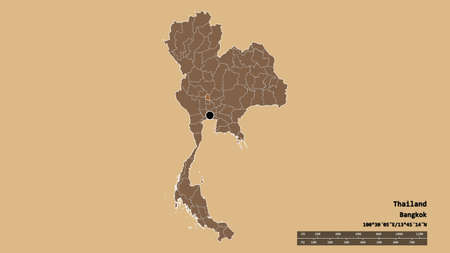 Desaturated shape of Thailand with its capital, main regional division and the separated Sing Buri area. Labels. Composition of patterned textures. 3D rendering
