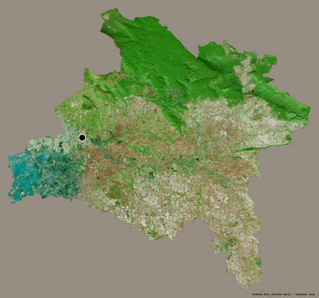 Shape of Prachin Buri, province of Thailand, with its capital isolated on a solid color background. Satellite imagery. 3D rendering