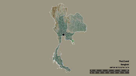 Desaturated shape of Thailand with its capital, main regional division and the separated Trat area. Labels. Topographic relief map. 3D rendering