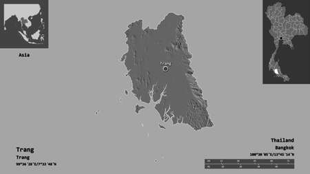 Shape of Trang, province of Thailand, and its capital. Distance scale, previews and labels. Bilevel elevation map. 3D rendering