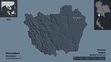 Shape of Phetchaburi, province of Thailand, and its capital. Distance scale, previews and labels. Colored elevation map. 3D rendering