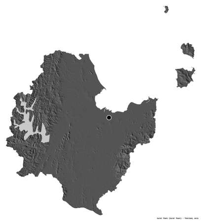Shape of Surat Thani, province of Thailand, with its capital isolated on white background. Bilevel elevation map. 3D rendering