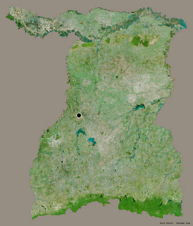 Shape of Surin, province of Thailand, with its capital isolated on a solid color background. Satellite imagery. 3D rendering