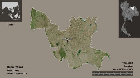 Shape of Udon Thani, province of Thailand, and its capital. Distance scale, previews and labels. Satellite imagery. 3D rendering