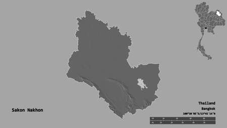 Shape of Sakon Nakhon, province of Thailand, with its capital isolated on solid background. Distance scale, region preview and labels. Bilevel elevation map. 3D rendering