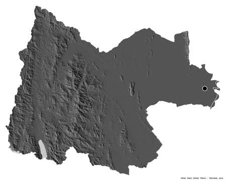 Shape of Uthai Thani, province of Thailand, with its capital isolated on white background. Bilevel elevation map. 3D rendering