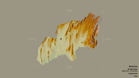 Area of Khatlon, region of Tajikistan, isolated on a solid background in a georeferenced bounding box. Labels. Topographic relief map. 3D rendering