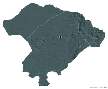 Shape of Iringa, region of Tanzania, with its capital isolated on white background. Colored elevation map. 3D rendering