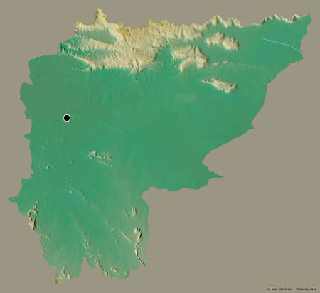 Shape of Sa Kaeo, province of Thailand, with its capital isolated on a solid color background. Topographic relief map. 3D rendering