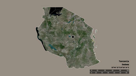 Desaturated shape of Tanzania with its capital, main regional division and the separated Dar es Salaam area. Labels. Satellite imagery. 3D rendering