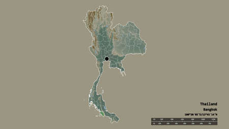 Desaturated shape of Thailand with its capital, main regional division and the separated Satun area. Labels. Topographic relief map. 3D rendering