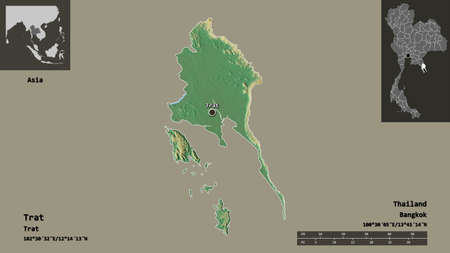 Shape of Trat, province of Thailand, and its capital. Distance scale, previews and labels. Topographic relief map. 3D rendering