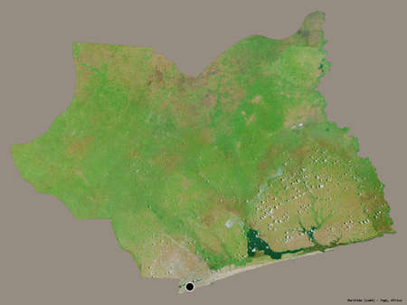 Shape of Maritime, region of Togo, with its capital isolated on a solid color background. Satellite imagery. 3D rendering