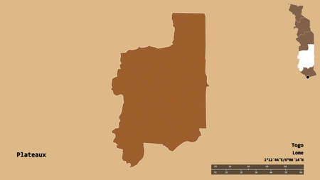 Shape of Plateaux, region of Togo, with its capital isolated on solid background. Distance scale, region preview and labels. Composition of patterned textures. 3D rendering