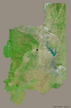 Shape of Plateaux, region of Togo, with its capital isolated on a solid color background. Satellite imagery. 3D rendering