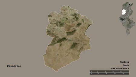 Shape of Kassérine, governorate of Tunisia, with its capital isolated on solid background. Distance scale, region preview and labels. Satellite imagery. 3D rendering