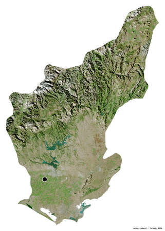Shape of Adana, province of Turkey, with its capital isolated on white background. Satellite imagery. 3D rendering