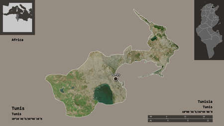 Shape of Tunis, governorate of Tunisia, and its capital. Distance scale, previews and labels. Satellite imagery. 3D rendering