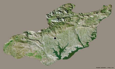 Shape of Adiyaman, province of Turkey, with its capital isolated on a solid color background. Satellite imagery. 3D rendering