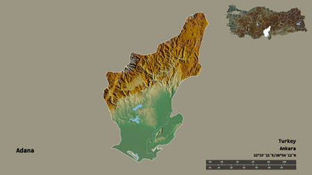 Shape of Adana, province of Turkey, with its capital isolated on solid background. Distance scale, region preview and labels. Topographic relief map. 3D rendering Stock Photo