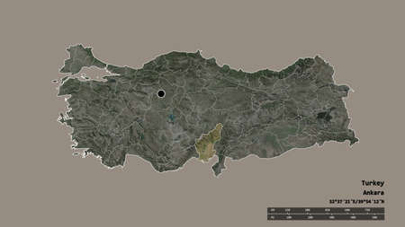 Desaturated shape of Turkey with its capital, main regional division and the separated Adana area. Labels. Satellite imagery. 3D rendering