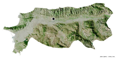 Shape of Aydin, province of Turkey, with its capital isolated on white background. Satellite imagery. 3D rendering
