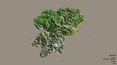Area of Artvin, province of Turkey, isolated on a solid background in a georeferenced bounding box. Labels. Satellite imagery. 3D rendering