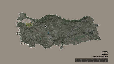 Desaturated shape of Turkey with its capital, main regional division and the separated Bursa area. Labels. Satellite imagery. 3D rendering