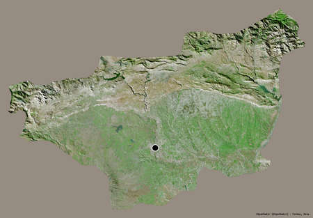 Shape of Diyarbakır, province of Turkey, with its capital isolated on a solid color background. Satellite imagery. 3D rendering