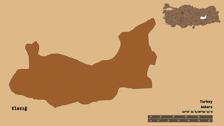 Shape of Elazığ, province of Turkey, with its capital isolated on solid background. Distance scale, region preview and labels. Composition of patterned textures. 3D rendering