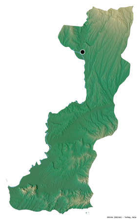 Shape of Edirne, province of Turkey, with its capital isolated on white background. Topographic relief map. 3D rendering