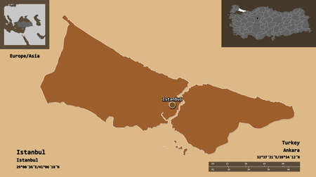 Shape of Istanbul, province of Turkey, and its capital. Distance scale, previews and labels. Composition of patterned textures. 3D rendering