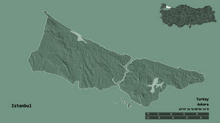 Shape of Istanbul, province of Turkey, with its capital isolated on solid background. Distance scale, region preview and labels. Colored elevation map. 3D rendering Standard-Bild