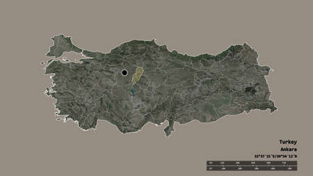 Desaturated shape of Turkey with its capital, main regional division and the separated Kirikkale area. Labels. Satellite imagery. 3D rendering