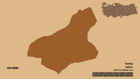 Shape of Karabük, province of Turkey, with its capital isolated on solid background. Distance scale, region preview and labels. Composition of patterned textures. 3D rendering