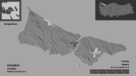 Shape of Istanbul, province of Turkey, and its capital. Distance scale, previews and labels. Bilevel elevation map. 3D rendering